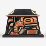 Wood and Abalone Shell Eagle Bentwood Box by Native Artist Maynard Johnny Jr.