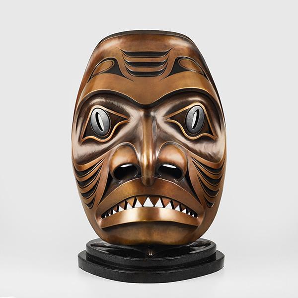 Bronze Dogfish Mask with Granite Base by Northwest Coast Native Artist Ben Davidson