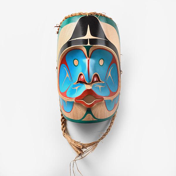 Wood and Bark Rainwater Mask by Northwest Coast Native Artist Alvin Mack