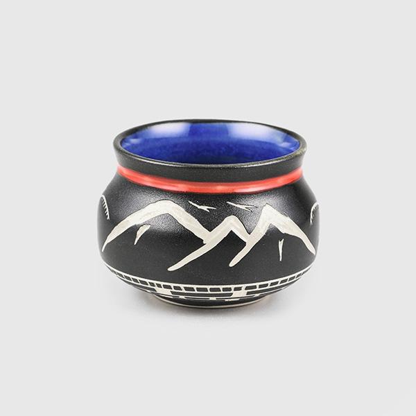Porcelain Eagle & Mountains Bowl by Northwest Coast Native Artist Patrick Leach
