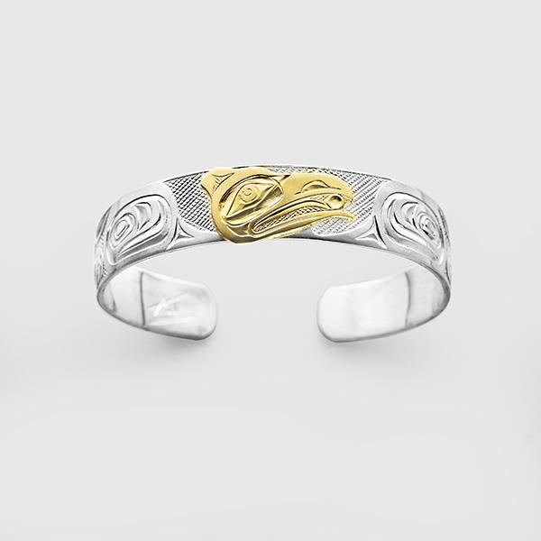 Silver and Gold Raven Bracelet by Native Artist Kelvin Thompson