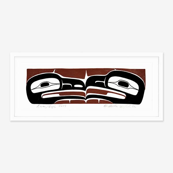 Framed Raven & Eagle Original Painting by Native Artist Ben Houstie