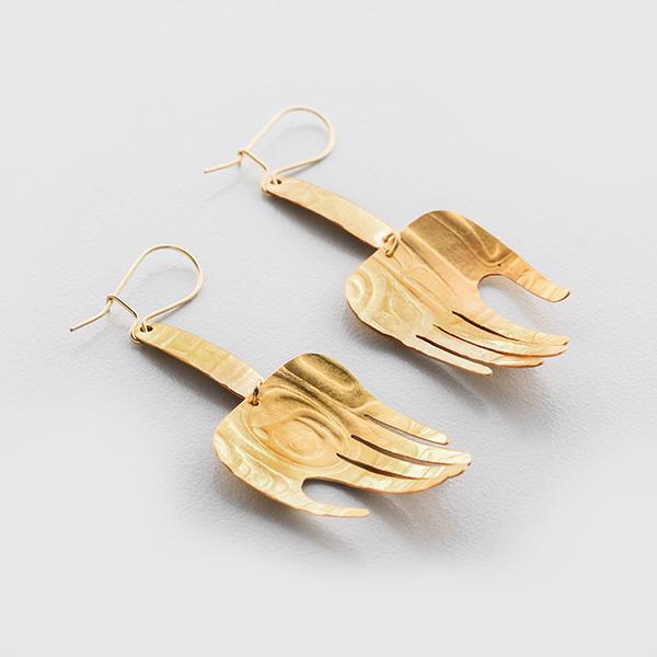Gold Welcoming Hands Earrings by Native Artist Gwaai Edenshaw