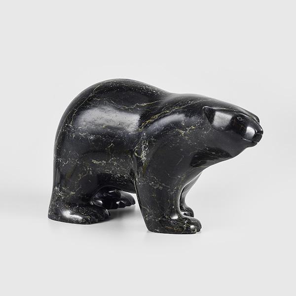 Stone Polar Bear Sculpture by Inuit Native Artist Ashevak Adla