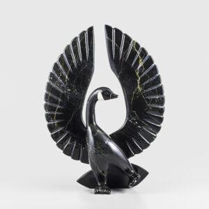 Stone Goose Sculpture by Inuit Native Artist Johnny Mathewsie