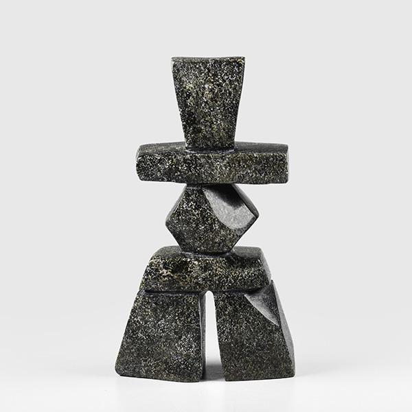 Stone Inukshuk Sculpture by Inuit Native Artist Matheussie Oshutsiaq