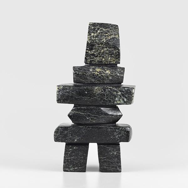 Stone Inukshuk Sculpture by Inuit Native Artist Salamonie Shaa