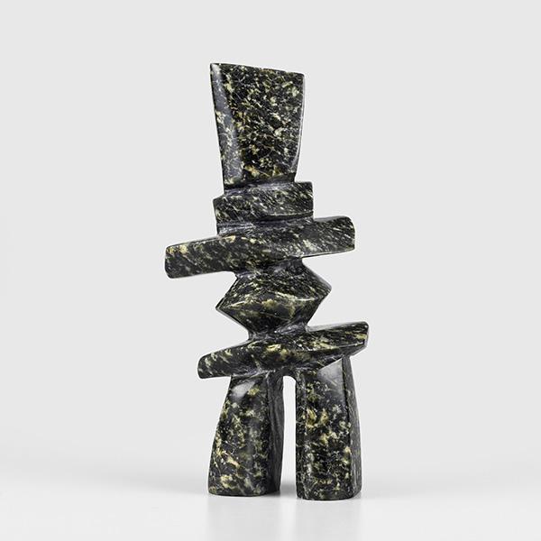 Stone Inukshuk Sculpture by Inuit Native Artist Oqittuq Shaa