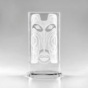 Raven & Moon glasswork, totem, Clarence Mills, Haida