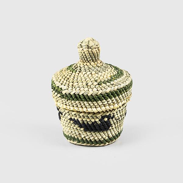Grass and Cedar Bark Bird Basket by Native Artist Dorothy Shephard