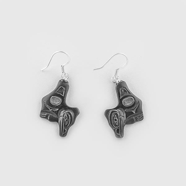 Argillite Raven Earrings by Native Artist Gryn White