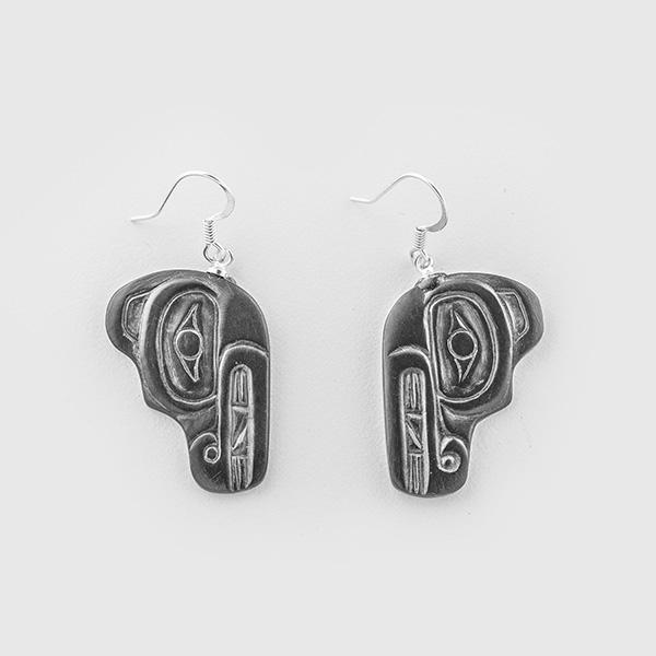 Argillite Bear Earrings by Native Artist Gryn White