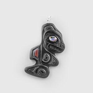 Argillite Killerwhale Pendant by Native Artist Gryn White