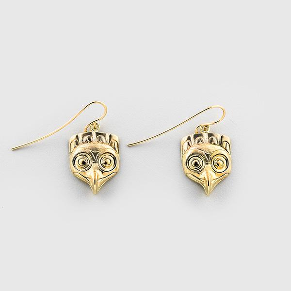 Gold Owl Earrings by Native Artist Lyle Wilson