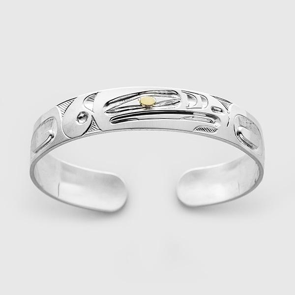 Silver and Gold Thunderbird Bracelet by Native Artist Ivan Thomas
