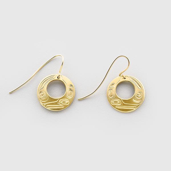 Gold Hummingbird Earrings by Native Artist Trevor Angus
