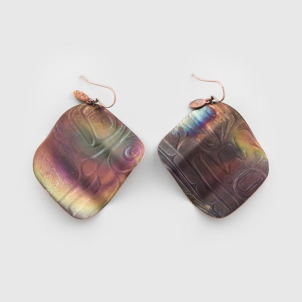 Copper Flasher Fishing Lure Earrings by Native Artist Gwaai Edenshaw