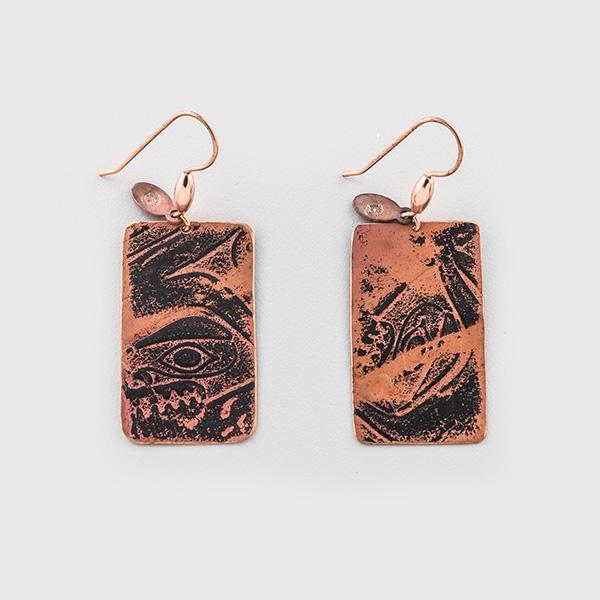 Copper Tall Box Earrings by Native Artist Gwaai Edenshaw