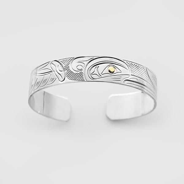 Silver and Gold Hummingbird Bracelet by Native Artist John Lancaster