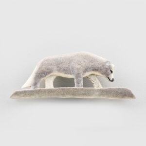 Caribou Antler Wolf Pin by Inuit Artist Sandy Maniapik