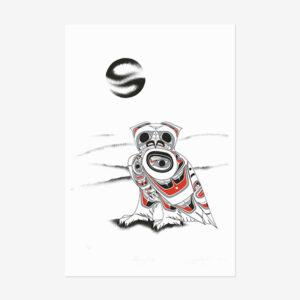 Snowy Owl Print by Northwest Coast Native Artist Richard Shorty