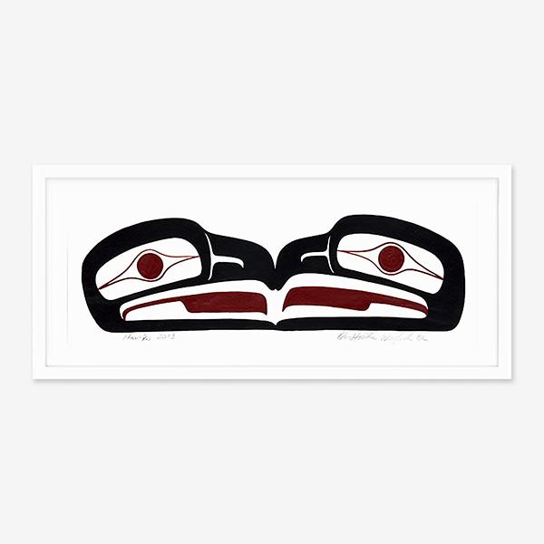 Framed Hawk Original Painting by Native Artist Ben Houstie