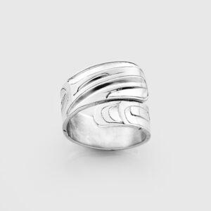 Silver Hummingbird Wrap Ring by Native Artist Alvin Adkins