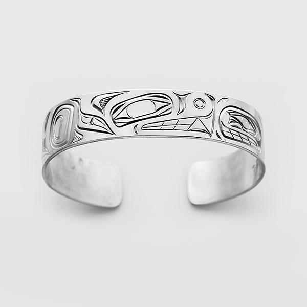 Silver Bear & Human Bracelet by Native Artist David Neel
