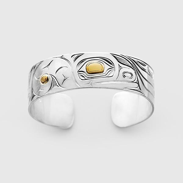 Siler and Gold Otter Bracelet by Native Artist David Neel