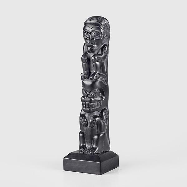 Bear & Human Model Arillite Pole by Northwest Coast Artist Greg White Lightbown