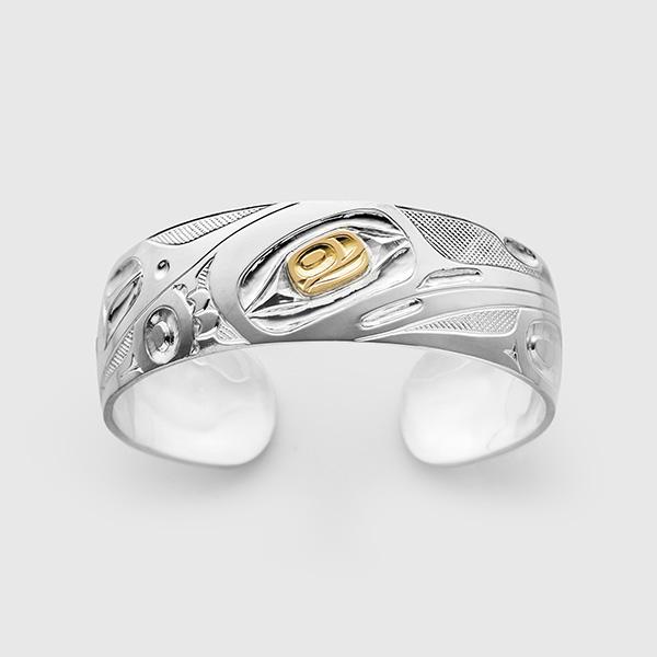 Silver and Gold Hummingbird Bracelet by Native Artist David Neel