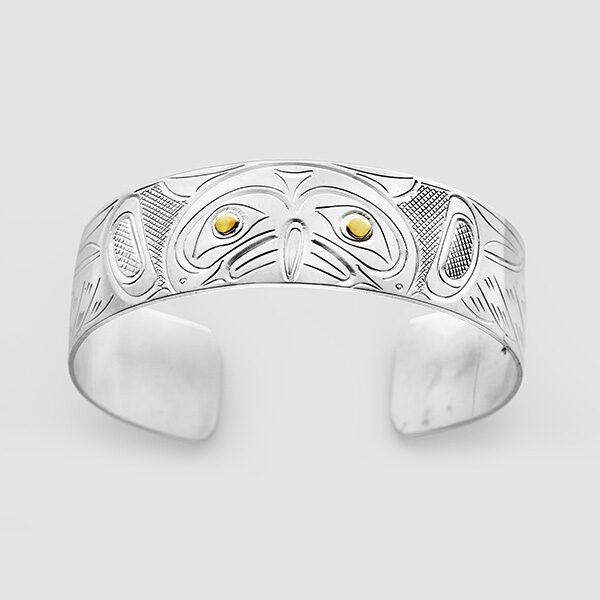 Silver and Gold Owl Bracelet by Native Artist John Lancaster