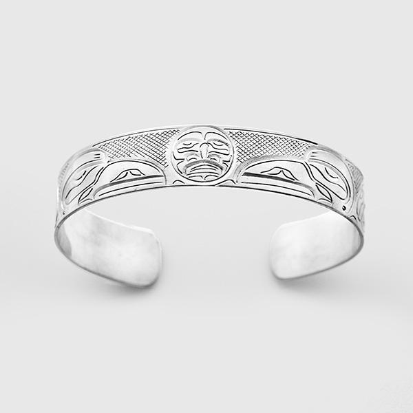 Silver Ravens and Moon Bracelet by Native Artist John Lancaster