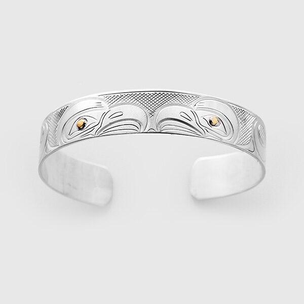 Silver and Gold Eagle Bracelet by Native Artist John Lancaster