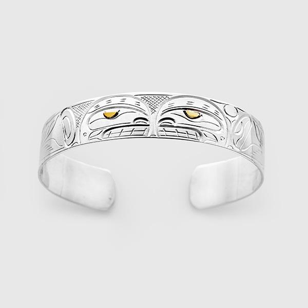 Silver and Gold Killerwhale Bracelet by Native Artist John Lancaster