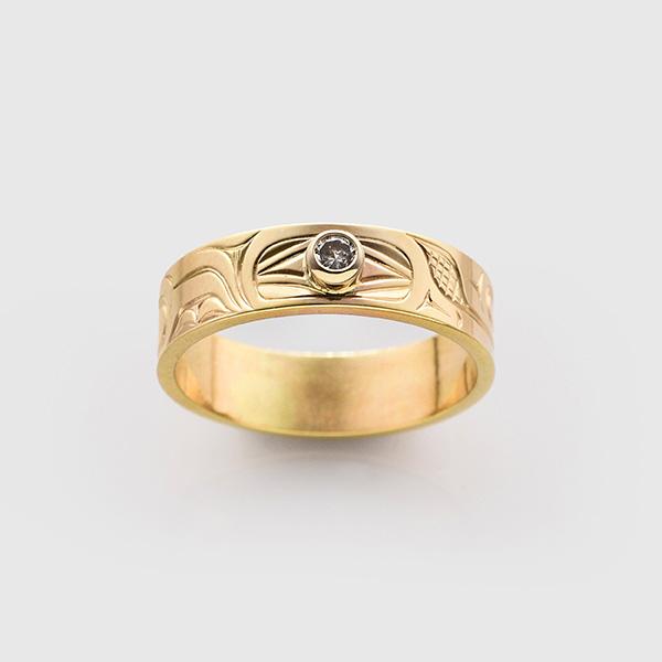 Gold Hummingbird Ring by Native Artist David Neel