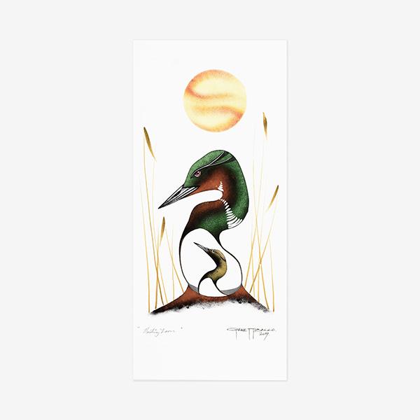 Original Nesting Loon Painting by Plains Native Artist Garnet Tobacco