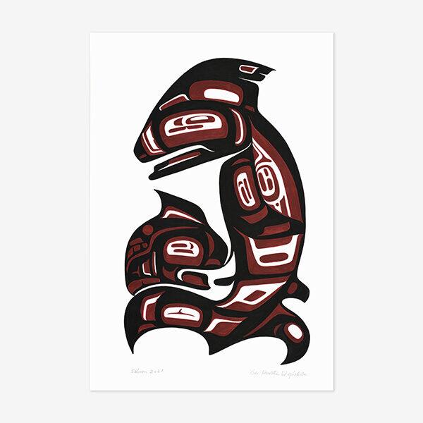 Original Salmon Painting by Northwest Coast Native Artist Ben Houstie