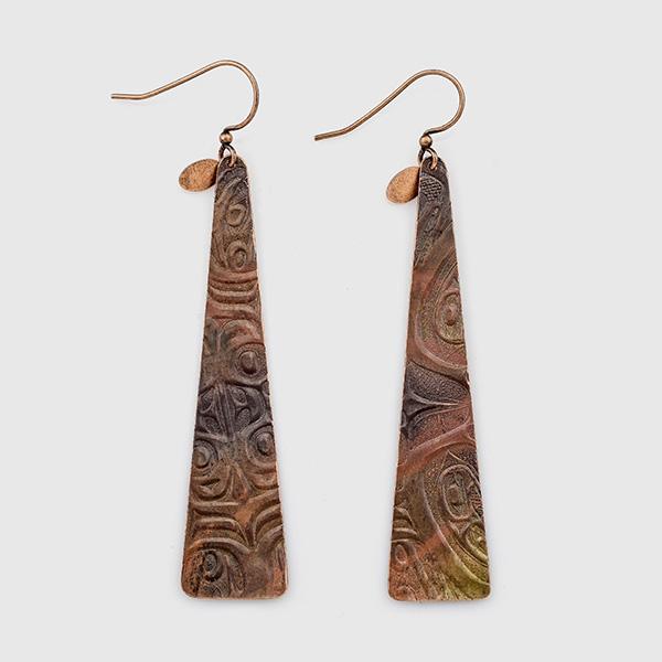 Copper SINX Earrings by Gwaai Edenshaw