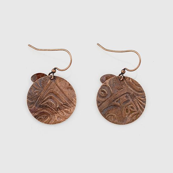 Copper Salmon Egg Earrings by Gwaai Edenshaw