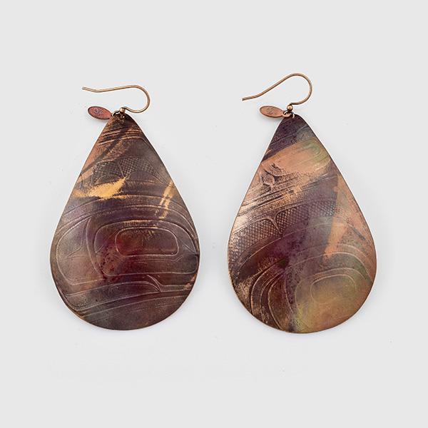 Copper Raindrop Earrings by Gwaai Edenshaw