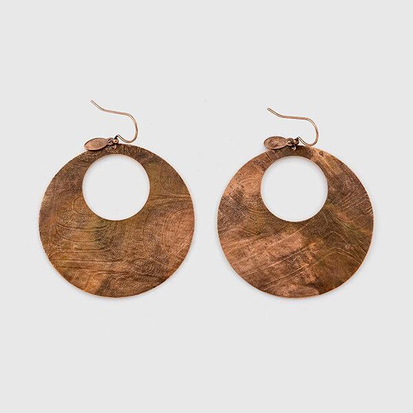 Copper Gathered Water Earrings by Gwaai Edenshaw