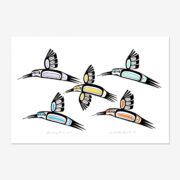 Original Hummingbirds Painting by Northwest Coast Native Artist Ben Houstie