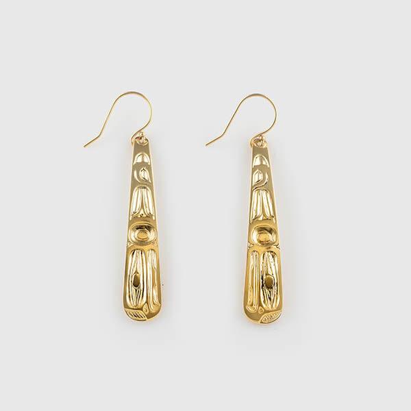 Gold Eagle Earrings by Native Artist Ivan Thomas