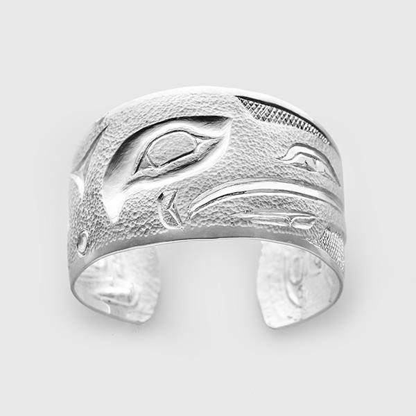 Silver Raven Bracelet by Native Artist Clarence Mills