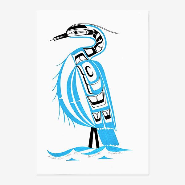 Original Great Blue Heron Painting by Northwest Coast Native Artist Ben Houstie