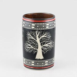 Engraved Porcelain Tree Vase by Northwest Coast Native Artist Patrick Leach