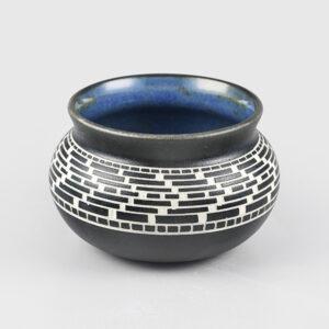 Engraved Porcelain Basket Weave Vase by Northwest Coast Native Artist Patrick Leach