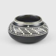 Engraved Porcelain Basket Weave Bowl by Northwest Coast Native Artist Patrick Leach