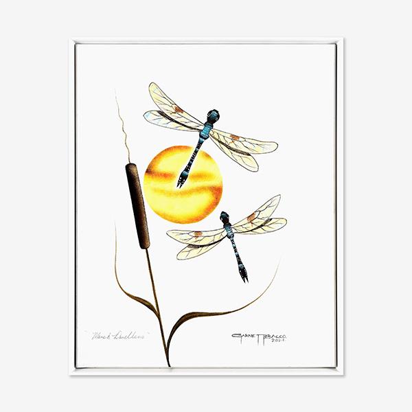 Original Dragonfly Painting by Plains Native Artist Garnett Tobacco